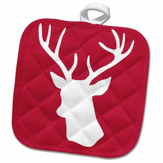 3dRose Red deer stag head silhouette in white - reindeer - rustic country Christmas themed gifts for winter - Pot Holder, 8 by 8-inch