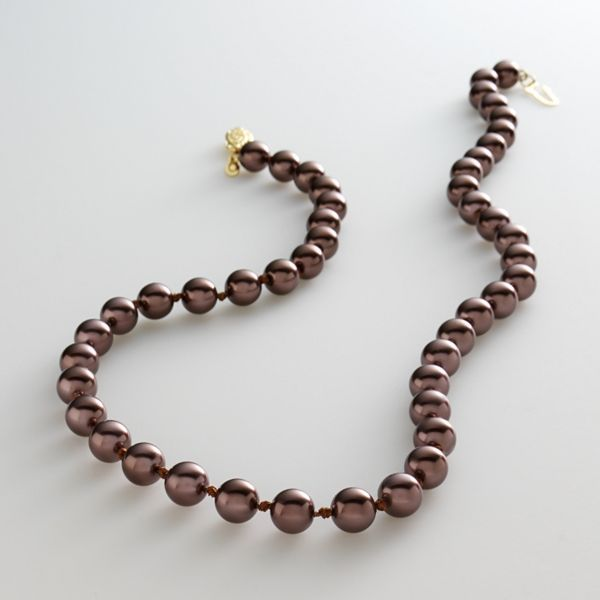 Gold-Tone Chocolate Faux-Pearl Necklace
