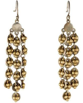 Me & Ro Me&Ro Two-Tone Fringe Disc Chandelier Earrings