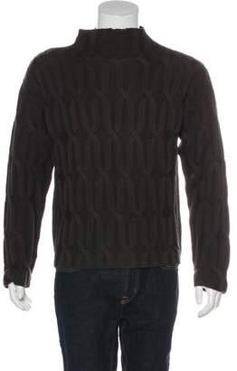 Armani Collezioni Cable Knit Mock Neck Sweater