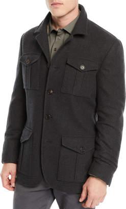 Brunello Cucinelli Men's Wool/Cashmere Safari Jacket