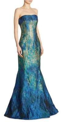 Rene Ruiz Strapless Ombre Jacquard Mermaid Gown