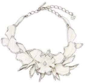Oscar de la Renta Orchid Enamel & Swarovski Crystal Statement Necklace