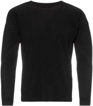 Issey Miyake Homme Plissé black pleated long sleeve T-shirt