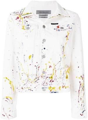 CK Calvin Klein paint splash denim jacket