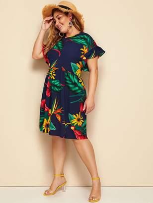 Shein Plus Tropical Print Flounce Trim Dress