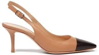 Gianvito Rossi Lucy 70 Leather Slingback Pumps - Womens - Black Nude