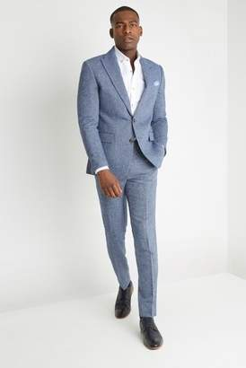Next Mens Moss London Slim Fit Blue Herringbone Tweed Jacket