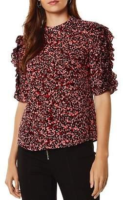 Karen Millen Ruffle-Trimmed Leopard-Print Blouse