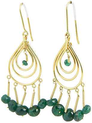 One Kings Lane Vintage Emerald & Gold Dangle Earrings - Owl's Roost Antiques