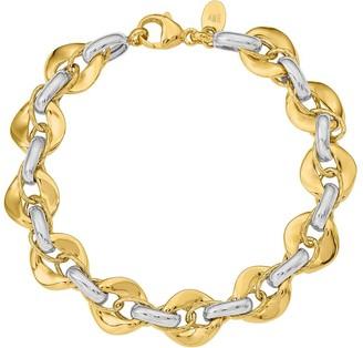 14K Gold Two-tone Interlocking Link Bracelet, 9.4g