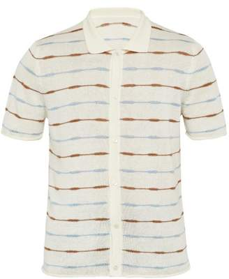 Jacquemus Striped Knitted Linen Polo Shirt - Mens - White Multi