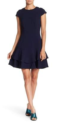 Eliza J Cap Sleeve Solid Flounce Dress
