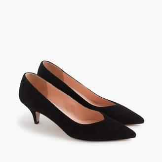 J.Crew Dulci V-cut kitten heels in suede