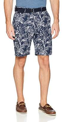 Savane Men's Flat Front Printed Short with Belt