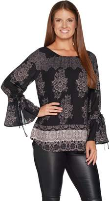 Laurie Felt Woven Blouse with Bell Tie- Sleeve Detail