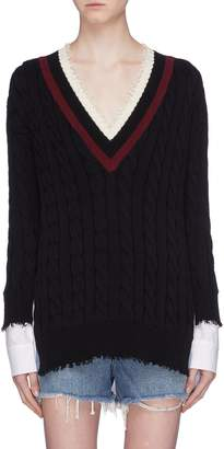 Alexander Wang Poplin panel V-neck sweater