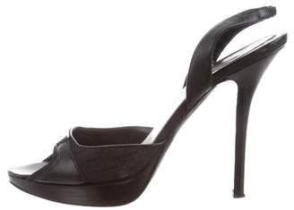 Christian Dior Diorissimo Leather Slingback Sandals