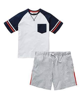 Jacamo Retro Sports Stripe Short Pyjama Set