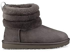 UGG Women's Women's Fluff Mini Quilted Suede and Shearling Boots