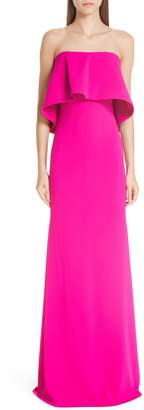 Badgley Mischka Strapless Popover Column Gown