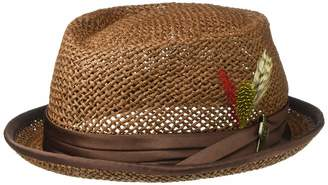 Brixton Men's Stout Short Brim Straw Pork Pie Fedora HAT