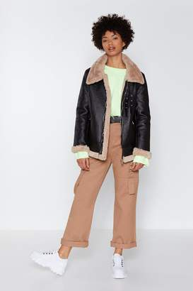 Nasty Gal That's Why They Call It the Blues Faux Fur Aviator Coat