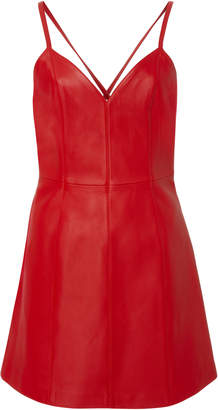 ALEXACHUNG Leather Mini Dress