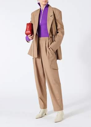 Tibi Tropical Wool Oversized Drawstring Blazer