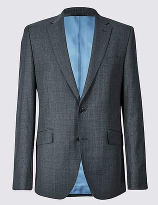 Marks and Spencer Charcoal Textured Tailored Fit Wool Jacket