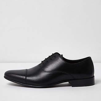 River Island Black leather toe cap Oxford shoes