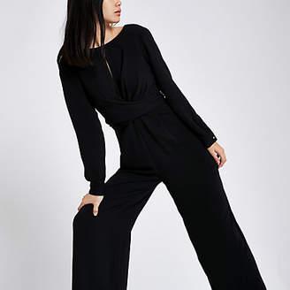 River Island Womens Black wrap front wide leg jumpsuit