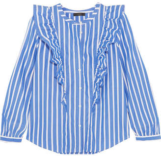 J.Crew Magnesium Ruffled Striped Cotton-poplin Shirt - Blue