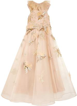 Mischka Aoki Embellished Bird Party Dress