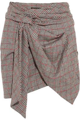 Isabel Marant - Kim Wrap-effect Tweed Mini Skirt - Gray $480 thestylecure.com