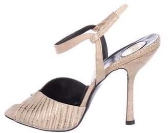 Versace Embossed Ankle Strap Sandals