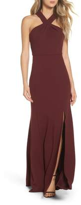 Jenny Yoo Kayleigh Cross Front Crepe Knit Gown