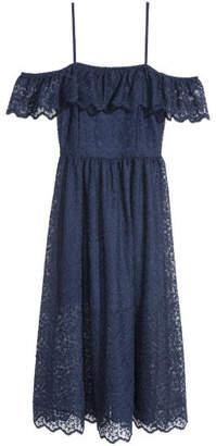 H&M Lace Off-the-shoulder Dress - Blue