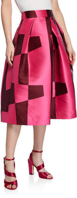 Milly Clarisa Pleated Colorblock A-Line Skirt