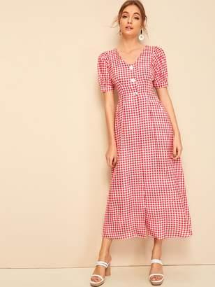 Shein Button Half Placket Puff Sleeve Gingham Dress