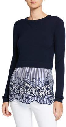 Elie Tahari Candra Long-Sleeve Sweater Overlay Top w/ Striped Bottom