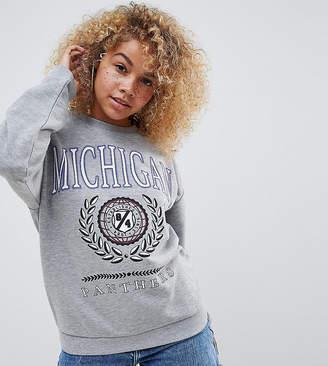 Asos DESIGN Petite sweatshirt with michigan print in grey marl