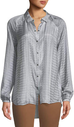 Go Silk Go Surface Ikat Striped Button-Front Blouse