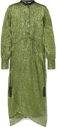 Petar Petrov Delta Leather-trimmed Silk-blend Lamé Midi Dress - Dark green