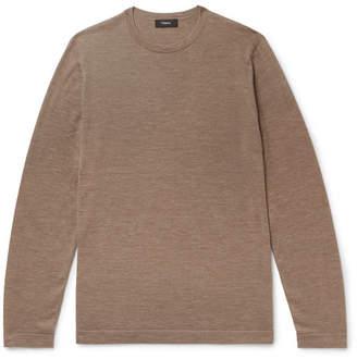 Theory Lievos Slim-fit Melange Cashmere Sweater - Brown
