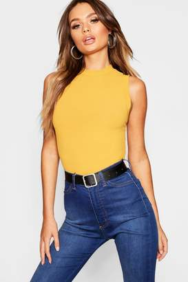 boohoo Rib Knit Sleeveless High Neck Top