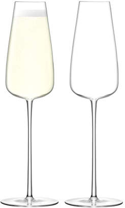 LSA International Set Of 2 Wine Culture Champagne Flute Glasses