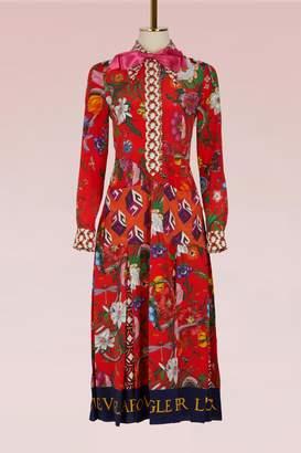 Gucci Patchwork Print Silk Dress