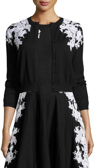 Oscar de la Renta Lace-Trim 3/4-Sleeve Cardigan, Black/White