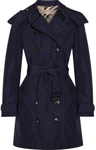 Burberry - Balmoral Packaway Hooded Shell Trench Coat - Storm blue